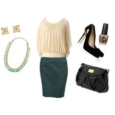 """""""Mint Chocolate Chip"""" by evelyn-forbes on Polyvore. Pleated blouse with teal pencil skirt."""
