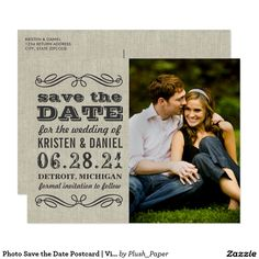 Photo Save the Date Postcard | Vintage Rustic Wedding