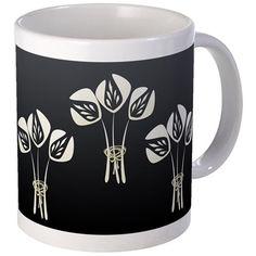 Black White Art Deco Floral Bouquet Mugs on CafePress.com