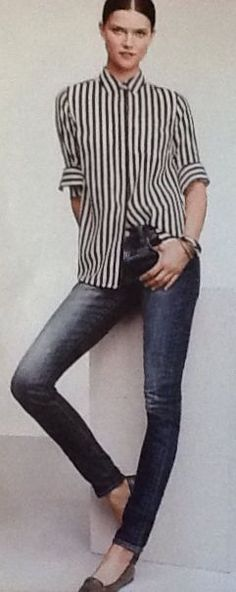 B&W striped shirt with jeans and flats