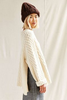 Urban Renewal Remade Side Slit Fisherman Sweater - Urban Outfitters