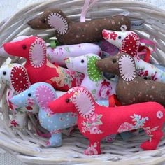 Dachshund sausage dog hanger, lavender-scented £9.00  I think they could be used at Christmas ornaments. WTB. Best ever ETSY merchant, love each of the many doxies adopted at her place ! #dogshirtsdiy