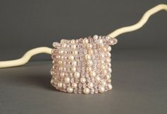 Pink and White Multi Strand Beaded Bracelet  8 by AmphaiJewelry