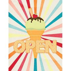 Caroline's Treasures Ice Cream Shop or Stand Open 2-Sided Garden Flag