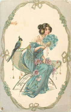 seated woman in oval, facing right, parrot behind her, gilt, green, nouveau, forget-me-not frame, grey surround