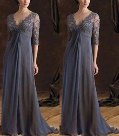 2013 NEW Gray Elegant 3/4 Sleeve Formal Evening Dress Chiffon Mother of the Bridal Dresses on Etsy, $125.00