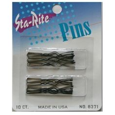"""Sta-Rite Silver Switch Pins-10 Ct., 10 by Sta-Rite. $6.95. Multi Size. 1-7/8"""" & 2-1/4"""" Switch (Anchor) Pins - 10 Pins per Card. Great for Up-dos, Twists, Buns. Color Black"""