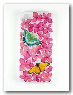 Handmade iPhone 5/5S case, Resin with Dried Flowers,  Hydrangea with butterfly
