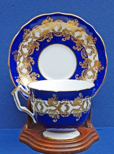 Vintage Aynsley Cobalt Blue & White w/ Gold Scroll Cup & Saucer Set. English bone china teacup / cup and saucer.