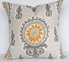 Pillow SALE Single 16x16 Gray Gold Michelle by LouiseandCompany