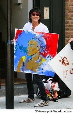 Ronnie Wood omg he paints. Ronnie Wood Art, David Wood, Ron Woods, Wood Artwork, Blue Lipstick, Greatest Rock Bands, Art Party, Rolling Stones, Great Artists