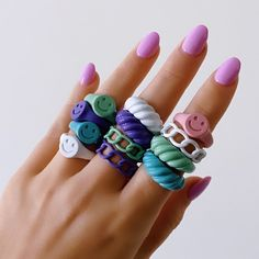 Fimo Ring, Polymer Clay Ring, Polymer Clay Crafts, Diy Clay Rings, Biscuit, Hand Jewelry, Jewellery, Cute Clay, Chunky Rings