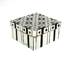 Abstract Black and White Jewelry Gift Box Hand by annarobertsart