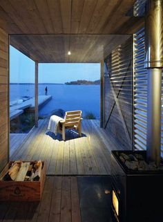 Sauna in the archipelago of Stockholm, Sweden.  Designed by Arkitektstudio Widjedal Racki Architecture.