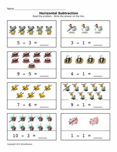 FREE worksheets, create your own worksheets, games. Nursery Worksheets, Pre K Worksheets, Subtraction Worksheets, Kindergarten Worksheets, Addition And Subtraction Practice, Maila, Second Grade Math, Skills To Learn, Preschool Printables