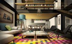 Moderne Wohnung mit buntem Teppich mit geometrischen Figuren