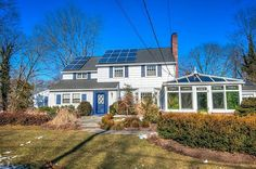 Pristine Colonial built in the 1930's features solar panels to reduce heating costs. #architecture #country #cottage