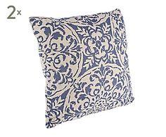 Set de 2 cojines de algodón y lino Damask, azul - 45x45 cm