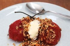 Poached tamarillos with coconut crumble