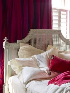 Juliet Caned Bed from And So To Bed - head end detail - hand painted in soft grey 'Perse', popping with fuchsia pink http://www.andsotobed.co.uk/juliet-caned-bed.html