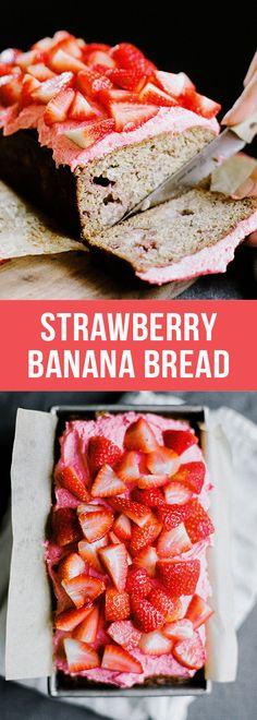 Strawberry Banana Bread by Handle the Heat #bananabread #recipes #food #brunch #springrecipes #breakfast