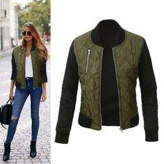 Autumn Women Basic Coat Casual Long Sleeve Bomber Jacket Fall Winter Fashion Coats Thicken Outwear Jackets Abrigos Mujer #WJ #basic-jackets #women_clothing #stylish_basic-jackets #style #fashion