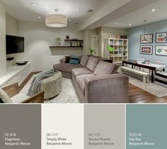 Great Benjamin Moore Revere Pewter Living Room With Additional Home Interior Design with Great Benjamin Moore Revere Pewter Living Room Home Remodel Ideas - Modern Home Interior Design Basement Colors, Basement Layout, Playroom Color Scheme, Basement Color Schemes, Home Color Schemes, House Color Schemes Interior, Kitchen Paint Schemes, Playroom Paint Colors, Paint Themes
