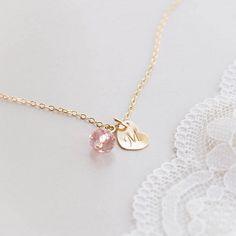 Dainty Initial Heart Necklace with Swarovski Crystal by CocoroJewelry