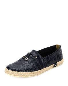 N3QHE Stefano Ricci Crocodile Leather Espadrille Shoe, Blue