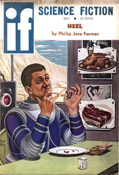 """If vol 10 no 2, May 1960. Cover art by Virgil Finlay titled """"Pin-ups in Space."""""""