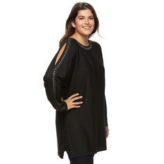 Plus Size Design 365 Studded Cold-Shoulder Tunic Sweater, Women's, Size: 2XL, Black