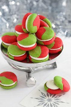 Green & Red Cream Cheese Sugar Cookie Sandwiches (Recipe)