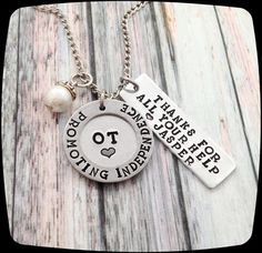 Occupational Therapist Gift, OT Gift, Therapy Staff, Rehab Office Professional Jewelry Necklace, OT Therapy Gift