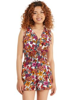 Punch of Fun Romper. Serve up your fave party punch while dressed in the tropical tones of this floral romper! #multi #modcloth