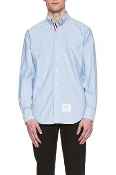 THOM BROWNE   Classic Cotton Button Down with Ribbon Placket in Blue Oxford