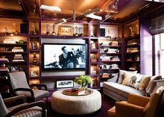 Don't know why, but I'm digging the plum casing in this room. Thom Filicia designs.