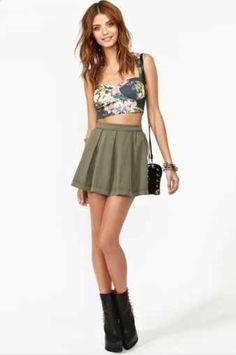 Love the high waist skirt and crop top