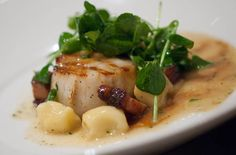 Wood Grilled Sea Scallops, Buttered Potato Dumplings, Bacon, and Pea Greens, Chef Ford Fry JCT Kitchen (Atlanta)
