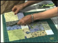 """Tossed Nine Patch Technique... Awesome! ... makes a piecework of 15"""" or 30"""" or 45"""" ~ Turn 5"""" Charm Squares in a beautiful quilt. The Tossed Nine Patch pattern is sew easy. Stitch nine patches together, cut and turn. It's magical. This pattern was designed by Eleanor Burns."""