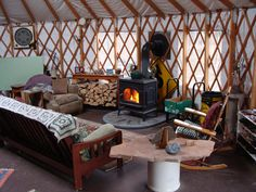 Living Off-Grid and Sustainably In An Upstate New York Yurt Made By The Colorado Yurt Company Yurt Living, Tiny Living, Living Room, Yurt Interior, Interior Design, Interior Ideas, Yurt Tent, Yurt Home, Tiny House Blog