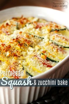 Parmesan Squash Casserole Parmesan Squash and Zucchini Bake is a perfect recipe for squash and zucchini from the garden. The squash is layered and coated with two kinds of cheese. Baked Squash And Zucchini Recipes, Yellow Squash Recipes, Summer Squash Recipes, Cheesy Zucchini Bake, Zuchinni Bake, Zucchini Onion Recipe, Baked Zuchinni Recipes, Zucchini Squash Bake, Baked Zucchini Parmesan