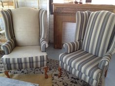 Tall Striped Wing Back Chairs For Patina Vintage Furniture Rental