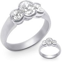 Half-Bezel Set Oval-Cut Diamond Trilogy Ring