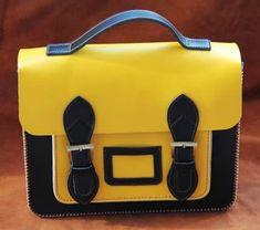 Handmade Genuine Leather Satchel / Messenger Bag / Backpack - Black with Yellow