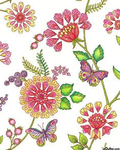 Enchanted - Bohemian Garden Paradise - White cotton fabric NCENC6WH. (eQuilter.com)