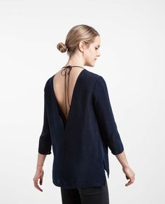 the v back top in navy cupro is part of our minimalist and sustainably conscious womenswear line
