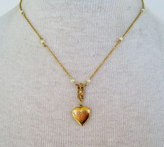 Vintage 80s Victorian Cottage Chic Signed 1928 Goldtone Faux Pearl Engraved Heart Locket Cable Chain Necklace by ThePaisleyUnicorn, $10.00