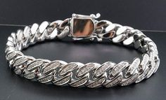 Miami Cuban Diamond Bracelet Mens 10K White Gold 9 Inches Pave Bangle Round Cut 2 Ct
