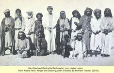 Bani Rasheed (Rashaida/Rashaayda) men, Hejaz region. 1932 From Arabia Felix:  Across the Empty Quarter of Arabia, by Bertram Thomas (1932)
