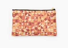 Autumn abstract pattern Studio Pouch by Anastasia Shemetova #faerieshop #pattern #modern #autumn #geometric #triangles #squares #design #unique #original #ornament #abstract #shopping #accessories #redbubble #bag #cosmetic